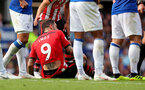 LIVERPOOL, ENGLAND - AUGUST 18: Danny Ings of Southampton after a collision with Jordan Pickford during the Premier League match between Everton FC and Southampton FC at Goodison Park on August 18, 2018 in Liverpool, United Kingdom. (Photo by Matt Watson/Southampton FC via Getty Images)