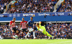 LIVERPOOL, ENGLAND - AUGUST 18: Danny Ings(L) of Southampton is denied by Jordan Pickford during the Premier League match between Everton FC and Southampton FC at Goodison Park on August 18, 2018 in Liverpool, United Kingdom. (Photo by Matt Watson/Southampton FC via Getty Images)