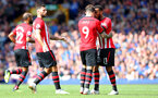 LIVERPOOL, ENGLAND - AUGUST 18: Danny Ings and Ryan Bertrand of Southampton during the Premier League match between Everton FC and Southampton FC at Goodison Park on August 18, 2018 in Liverpool, United Kingdom. (Photo by Matt Watson/Southampton FC via Getty Images)