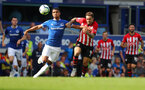 LIVERPOOL, ENGLAND - AUGUST 18: Danny Ings of Southampton(R) and Mason Holgate during the Premier League match between Everton FC and Southampton FC at Goodison Park on August 18, 2018 in Liverpool, United Kingdom. (Photo by Matt Watson/Southampton FC via Getty Images)