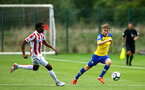 LONDON, ENGLAND - AUGUST 20: Jake Vokins (right) during an U23 Pl2 match between Southampton FC and Stoke City Clayton Training Ground on August 20, 2018 in London, England. (Photo by James Bridle - Southampton FC/Southampton FC via Getty Images)