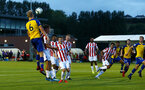 LONDON, ENGLAND - AUGUST 20: Christoph Klarer scores (left) during an U23 Pl2 match between Southampton FC and Stoke City Clayton Training Ground on August 20, 2018 in London, England. (Photo by James Bridle - Southampton FC/Southampton FC via Getty Images)