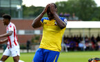 LONDON, ENGLAND - AUGUST 20: Michael Obafemi misses during an U23 Pl2 match between Southampton FC and Stoke City Clayton Training Ground on August 20, 2018 in London, England. (Photo by James Bridle - Southampton FC/Southampton FC via Getty Images)
