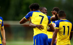 LONDON, ENGLAND - AUGUST 20: Marcus Barnes celebrates scoring (middle) pictured hugging team mate Michael Obafemi during an U23 Pl2 match between Southampton FC and Stoke City Clayton Training Ground on August 20, 2018 in Stoke, England. (Photo by James Bridle - Southampton FC/Southampton FC via Getty Images)