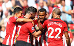 SOUTHAMPTON, ENGLAND - AUGUST 25: Ryan Bertrand(centre) of Southampton celebrates after putting his team 1-0 up during the Premier League match between Southampton FC and Leicester City at St Mary's Stadium on August 25, 2018 in Southampton, United Kingdom. (Photo by Matt Watson/Southampton FC via Getty Images)