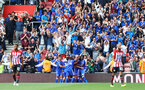 SOUTHAMPTON, ENGLAND - AUGUST 25: Leicester celebrate during the Premier League match between Southampton FC and Leicester City at St Mary's Stadium on August 25, 2018 in Southampton, United Kingdom. (Photo by Matt Watson/Southampton FC via Getty Images)