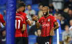 BRIGHTON, ENGLAND - AUGUST 28: Charlie Austin and Nathan Redmond of Southampton during the Carabao Cup Second Round match between Brighton & Hove Albion and Southampton at American Express Community Stadium on August 28, 2018 in Brighton, England. (Photo by Matt Watson/Southampton FC via Getty Images)