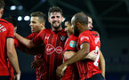 BRIGHTON, ENGLAND - AUGUST 28: LtoR Jack Stephens, Mohamed Elyounoussi, Nathan Redmond during the Carabao Cup Second Round match between Brighton & Hove Albion and Southampton at American Express Community Stadium on August 28, 2018 in Brighton, England. (Photo by James Bridle - Southampton FC/Southampton FC via Getty Images)