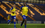 COLCHESTER, ENGLAND - SEPTEMBER 04: Michael Obafemi (middle) during the match between Colchester United vs Southampton FC at Jobserve Community Stadium on September 04, 2018 in Colchester, England. (Photo by James Bridle - Southampton FC/Southampton FC via Getty Images)
