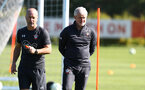 Mark Bowen(L) and Mark Hughes during a Southampton FC training session, at the Staplewood Campus, Southampton, 6th September 2018