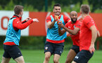 SOUTHAMPTON, ENGLAND - SEPTEMBER 11: Wesley Hoedt(centre) and Nathan Redmond(R) during a Southampton FC training session at the Staplewood Campus on September 11, 2018 in Southampton, England. (Photo by Matt Watson/Southampton FC via Getty Images)