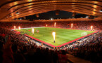SOUTHAMPTON, ENGLAND - SEPTEMBER 17TH: Light show and pyrotechnics at Southampton during the Premier League match between Southampton FC and Brighton & Hove Albion at St Mary's Stadium on September 17, 2018 in Southampton, United Kingdom. (Photo by Chris Moorhouse/Southampton FC via Getty Images)