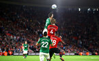 SOUTHAMPTON, ENGLAND - SEPTEMBER 17: Jannik Vestergaard, Mario Lemina of Southampton FC goes up against Shane Duffy and Martin Montoya during the Premier League match between Southampton FC and Brighton & Hove Albion at St Mary's Stadium on September 17, 2018 in Southampton, United Kingdom. (Photo by James Bridle - Southampton FC/Southampton FC via Getty Images)