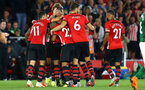 SOUTHAMPTON, ENGLAND - SEPTEMBER 17: Southampton FC players celebrate as Pierre-Emile H¿jbjerg scores for Southampton FC during the Premier League match between Southampton FC and Brighton & Hove Albion at St Mary's Stadium on September 17, 2018 in Southampton, United Kingdom. (Photo by James Bridle - Southampton FC/Southampton FC via Getty Images) SOUTHAMPTON, ENGLAND - SEPTEMBER 17: Southampton FC players celebrate as Pierre-Emile Højbjerg scores for Southampton FC during the Premier League match between Southampton FC and Brighton & Hove Albion at St Mary's Stadium on September 17, 2018 in Southampton, United Kingdom. (Photo by James Bridle - Southampton FC/Southampton FC via Getty Images)