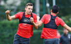 SOUTHAMPTON, ENGLAND - SEPTEMBER 20: Jan Bednarek(L) during a Southampton FC training session at Staplewood Complex on September 20, 2018 in Southampton, England. (Photo by Matt Watson/Southampton FC via Getty Images)