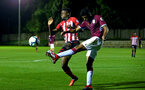 SOUTHAMPTON, ENGLAND - SEPTEMBER 21: Jonathan Afolabi (left) during the PL2 match between Southampton FC and Aston Villa FC at Staplewood Training Ground on September 21, 2018 in Southampton, United Kingdom. (Photo by James Bridle - Southampton FC/Southampton FC via Getty Images)