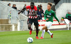 SOUTHAMPTON, ENGLAND - SEPTEMBER 22: Pascal Kpohomoug (left) during the U18 Premier League match between Southampton FC and Brighton Hove Albion at Staplewood Training Ground on September 22, 2018 in Southampton, United Kingdom. (Photo by James Bridle - Southampton FC/Southampton FC via Getty Images)