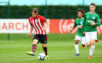 SOUTHAMPTON, ENGLAND - SEPTEMBER 22: Kornelius Hansen (left) during the U18 Premier League match between Southampton FC and Brighton Hove Albion at Staplewood Training Ground on September 22, 2018 in Southampton, United Kingdom. (Photo by James Bridle - Southampton FC/Southampton FC via Getty Images)