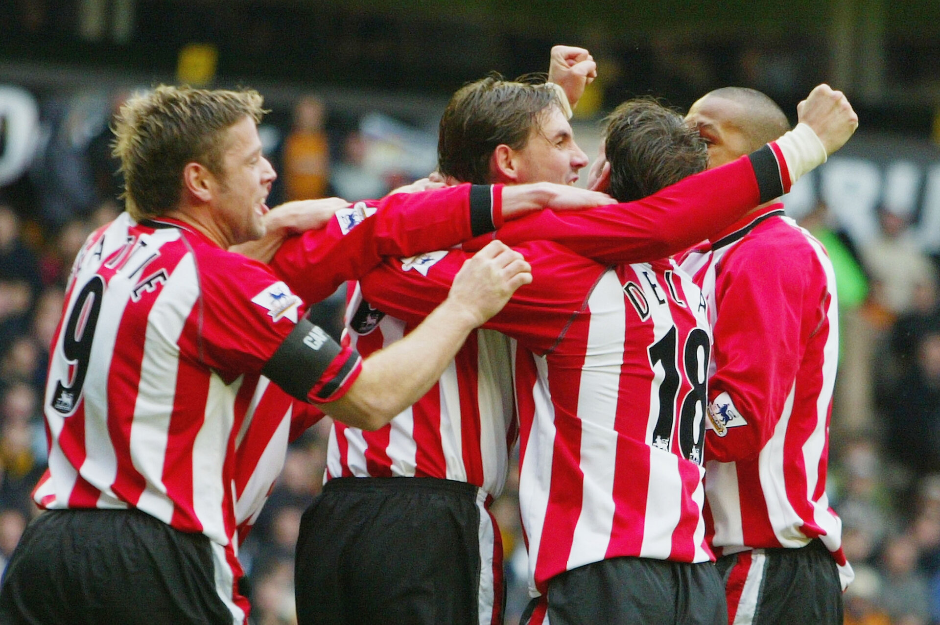 WOLVERHAMPTON, ENGLAND - APRIL 3:  Claus Lundekvam celebrates his goal with team mates during the FA Barclaycard Premiership match between Wolverhampton Wanderers and Southampton at The Molineux on April 3, 2004 in Wolverhampton, England.  (Photo by Jamie McDonald/Getty Images)