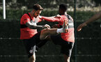 SOUTHAMPTON, ENGLAND - SEPTEMBER 27: LtoR Danny Ings, Nathan Tella during a Southampton FC training session at Staplewood Complex on September 27, 2018 in Southampton, England. (Photo by James Bridle - Southampton FC/Southampton FC via Getty Images)