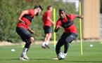 SOUTHAMPTON, ENGLAND - SEPTEMBER 27: Charlie Austin(L) and Mario Lemina during a Southampton FC training session at the Staplewood Campus on September 27, 2018 in Southampton, England. (Photo by Matt Watson/Southampton FC via Getty Images)