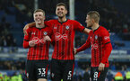 LIVERPOOL, ENGLAND - OCTOBER 02: L to R Matt Targett, Jack Stephens and Steven Davis of Southampton during the Carabao Cup Third Round match between Everton and Southampton at Goodison Park on October 2nd, 2018 in Liverpool, England. (Photo by Matt Watson/Southampton FC via Getty Images)