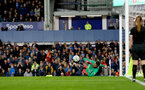 LIVERPOOL, ENGLAND - OCTOBER 02: Angus Gunn of Southampton saves a penalty during the Carabao Cup Third Round match between Everton and Southampton at Goodison Park on October 2nd, 2018 in Liverpool, England. (Photo by Matt Watson/Southampton FC via Getty Images)