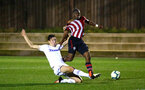SOUTHAMPTON, ENGLAND - OCTOBER 05: Michael Obafemi (right) gets taken down inside the penalty box resulting in a penalty for Southampton FC  during the PL2 match between Southampton FC and Leeds United FC U23s pictured at Staplewood Complex on October 5, 2018 in Southampton, England. (Photo by James Bridle - Southampton FC/Southampton FC via Getty Images)