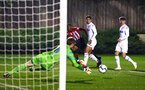 SOUTHAMPTON, ENGLAND - OCTOBER 05: Yan Valery (left) shoots for Southampton FC during the PL2 match between Southampton FC and Leeds United FC U23s pictured at Staplewood Complex on October 5, 2018 in Southampton, England. (Photo by James Bridle - Southampton FC/Southampton FC via Getty Images)
