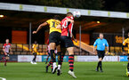 CAMBRIDGE, ENGLAND - OCTOBER 09: WIll Smallbone (right) (header) during the U21s Checkatade Trophy between Cambridge United and Southampton FC pictured at Abbey Stadium on October 9, 2018 in Cambridge, England. (Photo by James Bridle - Southampton FC/Southampton FC via Getty Images)