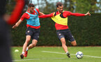 SOUTHAMPTON, ENGLAND - OCTOBER 11: Wesley Hoedt(L) and Manolo Gabbiadini during a Southampton FC training session at the Staplewood Campus on October 11, 2018 in Southampton, England. (Photo by Matt Watson/Southampton FC via Getty Images)
