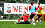 SOUTHAMPTON, ENGLAND - OCTOBER 15: Harry Lewis saves during a Southampton FC training session at the Staplewood Campus, on October 15, 2018 in Southampton, England. (Photo by Matt Watson/Southampton FC via Getty Images)