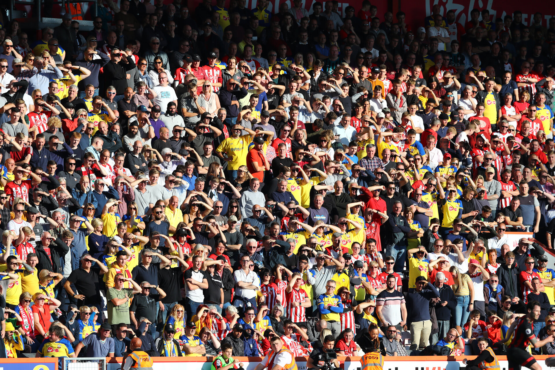 BOURNEMOUTH, ENGLAND - OCTOBER 20: fans of Southampton during the Premier League match between AFC Bournemouth and Southampton FC at Vitality Stadium on October 20, 2018 in Bournemouth, United Kingdom. (Photo by Matt Watson/Southampton FC via Getty Images)