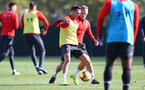 SOUTHAMPTON, ENGLAND - NOVEMBER 02: Cedric(L) and James Ward-Prowse during a Southampton FC training session at the Staplewood Campus on November 2, 2018 in Southampton, England. (Photo by Matt Watson/Southampton FC via Getty Images)