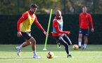 SOUTHAMPTON, ENGLAND - NOVEMBER 02: Jack Stephens(L) and Nathan Redmond during a Southampton FC training session at the Staplewood Campus on November 2, 2018 in Southampton, England. (Photo by Matt Watson/Southampton FC via Getty Images)