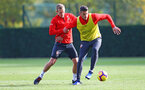 SOUTHAMPTON, ENGLAND - NOVEMBER 02: James Ward-Prowse(L) and Wesley Hoedt during a Southampton FC training session at the Staplewood Campus on November 2, 2018 in Southampton, England. (Photo by Matt Watson/Southampton FC via Getty Images)