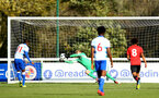 READING, ENGLAND - NOVEMBER 03: Jack Bycroft makes a save during a penalty kick for the under 18s Premier league match between Reading FC and Southampton FC, 2018 in Reading, England. (Photo by James Bridle - Southampton FC/Southampton FC via Getty Images)