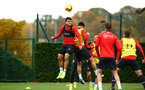 SOUTHAMPTON, ENGLAND - NOVEMBER 06: Mohamed Elyounoussi (left) during a Southampton FC training session at Staplewood Complex on November 6, 2018 in Southampton, England. (Photo by James Bridle - Southampton FC/Southampton FC via Getty Images)