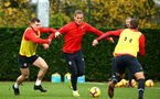 SOUTHAMPTON, ENGLAND - NOVEMBER 06: LtoR Pierre-Emile Højbjerg, Jannik Vestergaard during a Southampton FC training session at Staplewood Complex on November 6, 2018 in Southampton, England. (Photo by James Bridle - Southampton FC/Southampton FC via Getty Images)