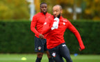 SOUTHAMPTON, ENGLAND - NOVEMBER 06: Michael Obafemi (left) during a Southampton FC training session at Staplewood Complex on November 6, 2018 in Southampton, England. (Photo by James Bridle - Southampton FC/Southampton FC via Getty Images)