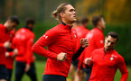 SOUTHAMPTON, ENGLAND - NOVEMBER 06: Jannik Vestergaard (middle) during a Southampton FC training session at Staplewood Complex on November 6, 2018 in Southampton, England. (Photo by James Bridle - Southampton FC/Southampton FC via Getty Images)