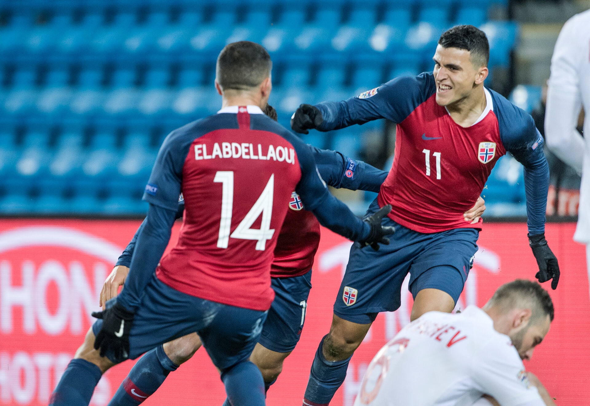 OSLO, NORWAY - OCTOBER 16: Omar Elabdellaoui, Mohammed Elyounoussi of Norway celebrates goal during the UEFA Nations League C group three match between Norway and Bulgaria at Ullevaal Stadion on October 16, 2018 in Oslo, Norway. (Photo by Trond Tandberg/Getty Images)