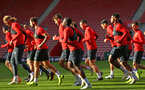 SOUTHAMPTON, ENGLAND - NOVEMBER 07: Michael Obafemi (middle) during a Southampton FC training session at St Mary's Stadium on November 7, 2018 in Southampton, England. (Photo by James Bridle - Southampton FC/Southampton FC via Getty Images)