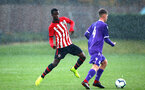 SOUTHAMPTON, ENGLAND - NOVEMBER 10: Rowland Idwou (left) during the U18 Premier League match between Southampton FC and Stoke City FC pictured at Staplewood Complex on November 10, 2018 in Southampton, England. (Photo by James Bridle - Southampton FC/Southampton FC via Getty Images)