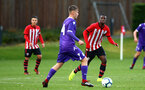SOUTHAMPTON, ENGLAND - NOVEMBER 10: Rowland Idowu (right) during the U18 Premier League match between Southampton FC and Stoke City FC pictured at Staplewood Complex on November 10, 2018 in Southampton, England. (Photo by James Bridle - Southampton FC/Southampton FC via Getty Images)