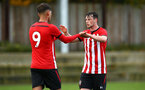 SOUTHAMPTON, ENGLAND - NOVEMBER 10: Will Ferry scores (right) during the U18 Premier League match between Southampton FC and Stoke City FC pictured at Staplewood Complex on November 10, 2018 in Southampton, England. (Photo by James Bridle - Southampton FC/Southampton FC via Getty Images)