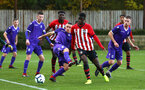 SOUTHAMPTON, ENGLAND - NOVEMBER 10: Rowland Idowu (middle) during the U18 Premier League match between Southampton FC and Stoke City FC pictured at Staplewood Complex on November 10, 2018 in Southampton, England. (Photo by James Bridle - Southampton FC/Southampton FC via Getty Images)