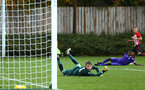SOUTHAMPTON, ENGLAND - NOVEMBER 10: Kornelius Hansen near miss (right) during the U18 Premier League match between Southampton FC and Stoke City FC pictured at Staplewood Complex on November 10, 2018 in Southampton, England. (Photo by James Bridle - Southampton FC/Southampton FC via Getty Images)
