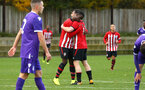 SOUTHAMPTON, ENGLAND - NOVEMBER 10: Rowland Idowu.congratulates Will Ferry after scoring (right) during the U18 Premier League match between Southampton FC and Stoke City FC pictured at Staplewood Complex on November 10, 2018 in Southampton, England. (Photo by James Bridle - Southampton FC/Southampton FC via Getty Images)