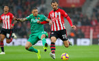 SOUTHAMPTON, ENGLAND - NOVEMBER 10: Manolo Gabbiadini(R) of Southampton and Jose Holebas of Watford(L) during the Premier League match between Southampton FC and Watford FC at St Mary's Stadium on November 10, 2018 in Southampton, United Kingdom. (Photo by Matt Watson/Southampton FC via Getty Images)